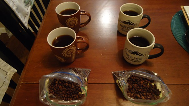 Ethiopian Yirgacheffe roast and brew:  Cupboard sample (right), freezer sample (left).